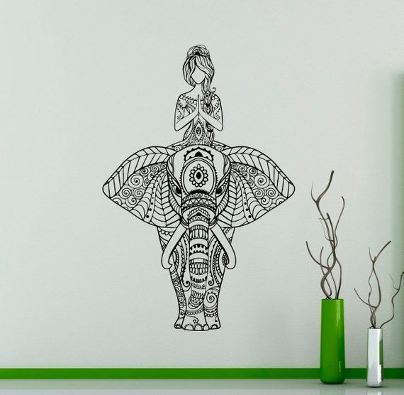Living Room Yoga Studio Coogee: Indian Elephant Wall Vinyl Decal Yoga Wall Sticker Yoga