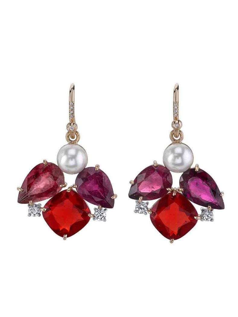 ec017fdf2 Irene Neuwirth Jewelry - Fire Opal and Pearl Cluster Earrings Handcrafted  in 18-karat rose