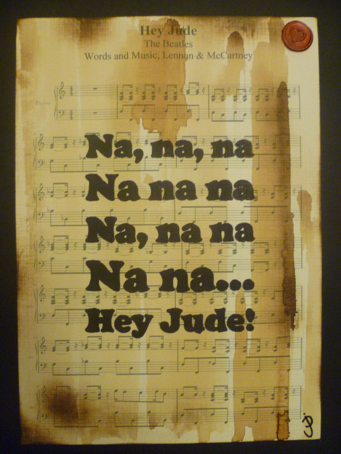 The Beatles, Hey Jude,song lyric art,music art, typographic art ...