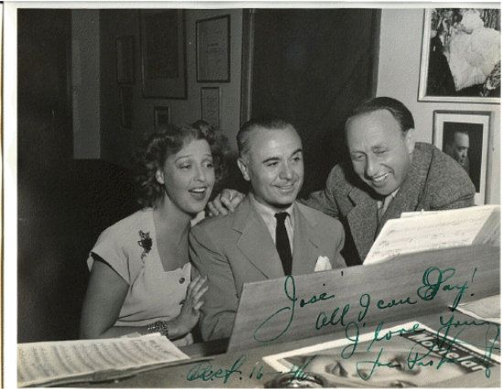 Jeanette with Jose Iturbi and Joe Pasternak on the set of Three Daring  Daughters   Jeanette macdonald, Female stars, Jeanette