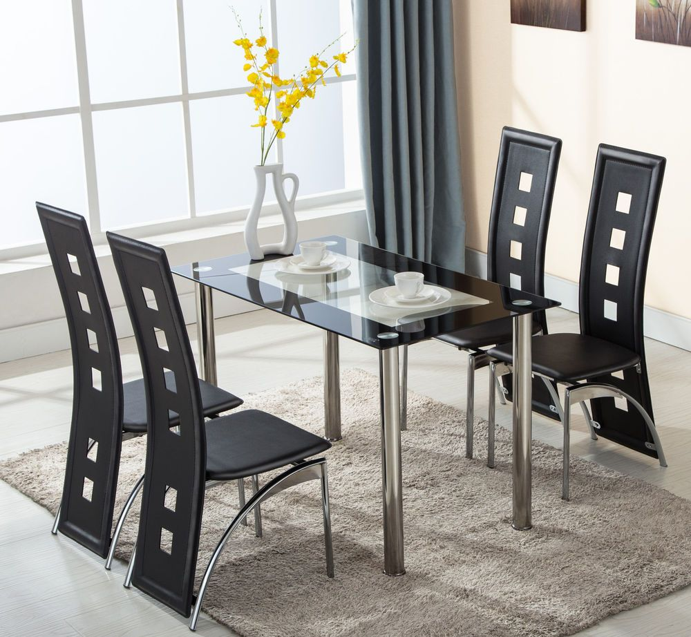 7 Piece Glass Dining Table Set 7 Leather Chairs Kitchen Room