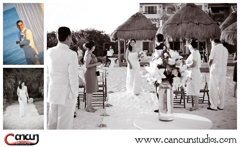 bride entering - beach wedding photography in Mexico