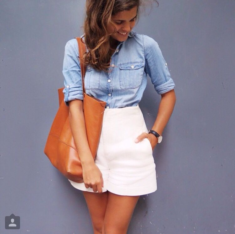 Chambray shirt and white shorts