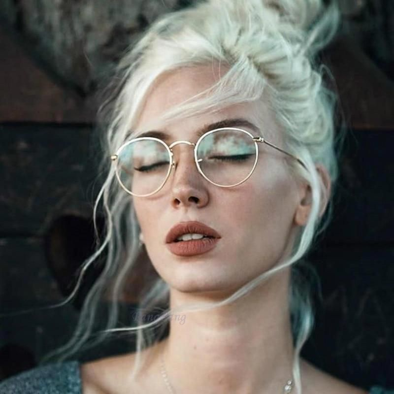 Photo of Curtain Round Glasses Frame Woman Retro Myopia Optical Frames Metal Clear Lens Black Silver Gold Eyeglasses 3447