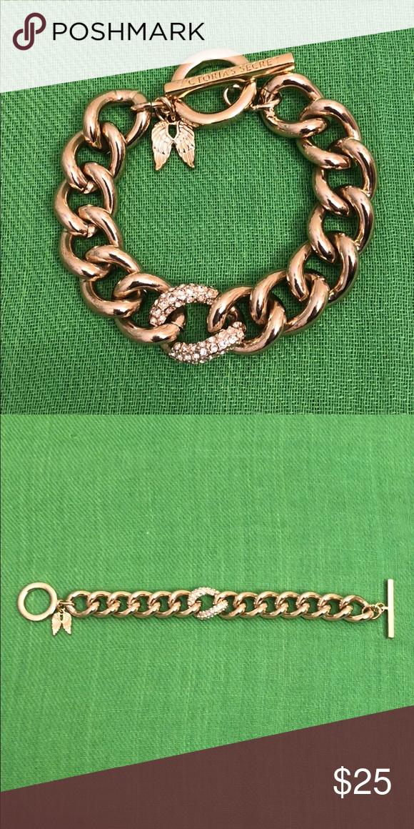 "979cf0d898197 Victoria's Secret Gold Tone/Rhinestone Bracelet 8"" Victoria's Secret ..."