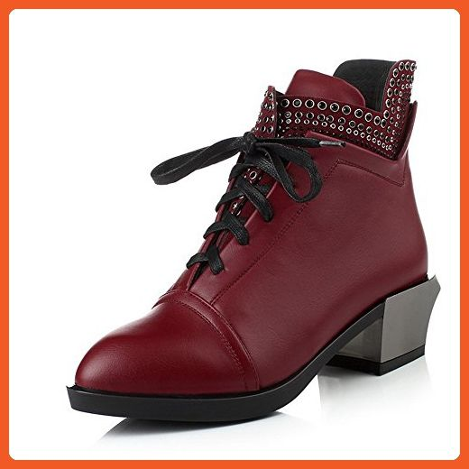 Women's Pointed Closed Toe PU Lace-Up Kitten-Heels Low-Top Boots