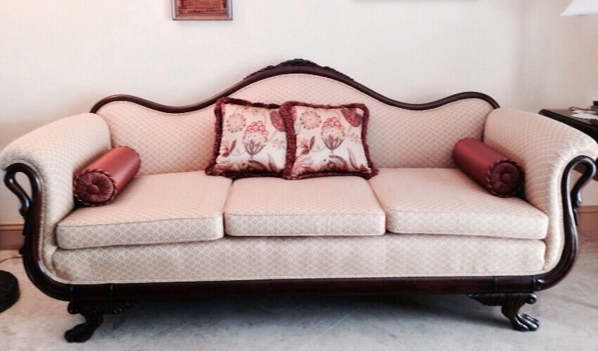 Early Duncan Phyfe 1900s American Gooseneck Sofa   Beautifully Reupholstered