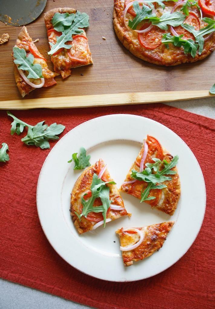 Tomato, Onion, and Arugula Pita Bread Pizza The Crave