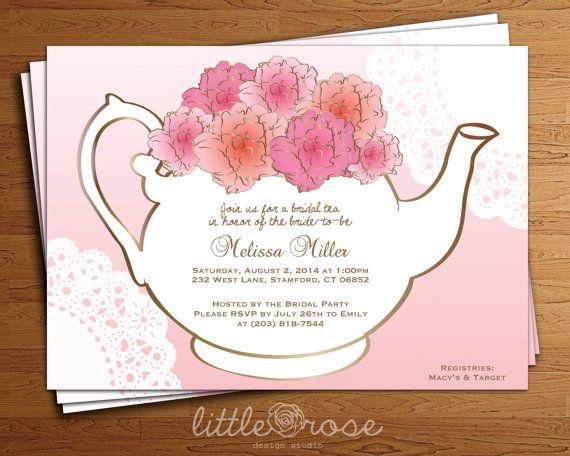 Bridal Tea Party Invitation Floral Teapot Bridal Shower Invitation  DIY Printable Digital File Only* Part 16