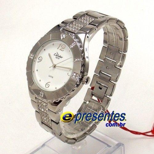 3237991beb2 KW26050B Relógio Feminino Condor Strass Aço prateado