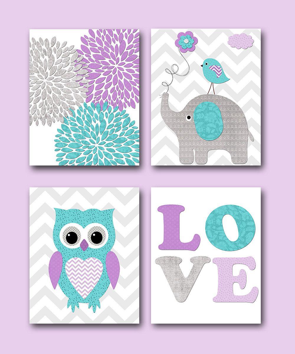 Best Purple Grey Teal Owl Nursery Art Elephant Nursery Decor 640 x 480