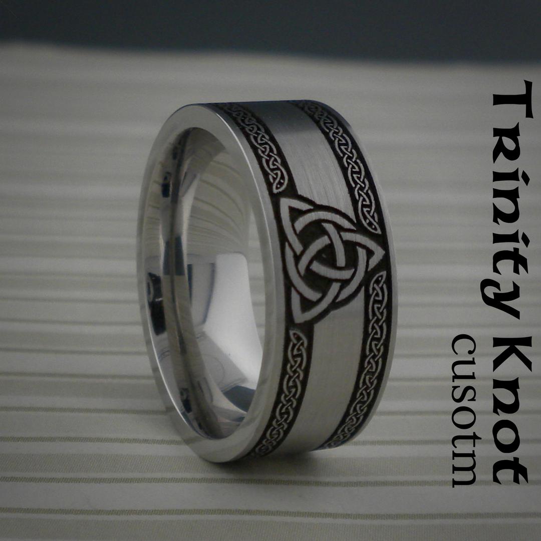 Custom Trinity Knot Wedding Ring in Cobalt Chrome. Satin