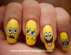 Spongy Bob Lol Those Faces Tho Ctfu Spongebob Nails Spongebob Nail Art Pretty Nails