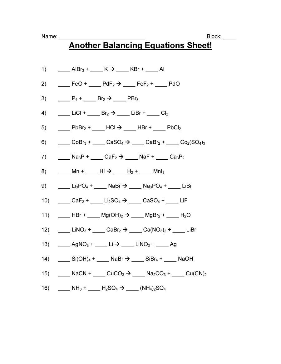 small resolution of 17+ Balancing Equations Worksheets And Answers