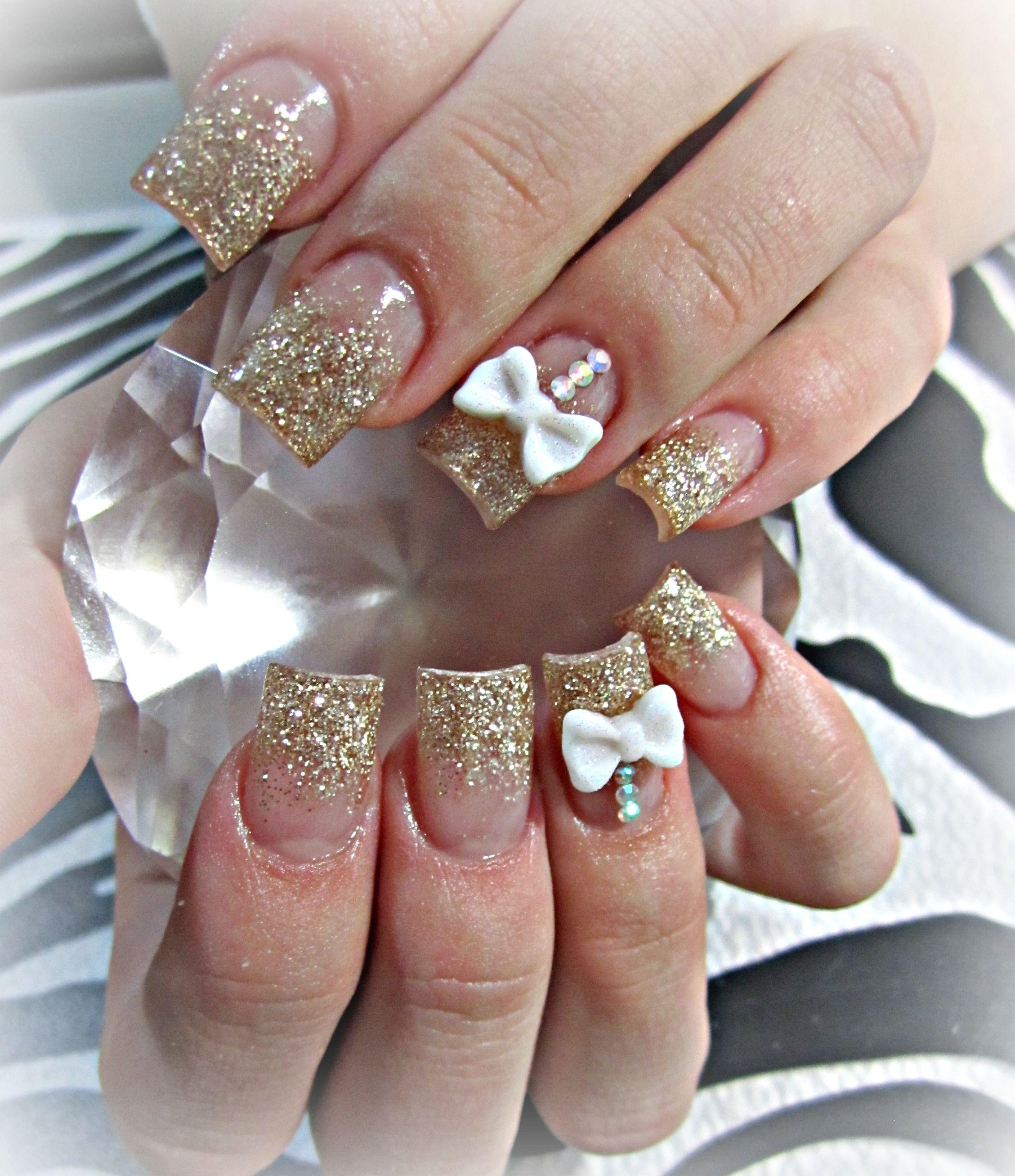 Gold And 3d Bows Acrylic Nails Unas Piedreria Unas Pedreria Unas