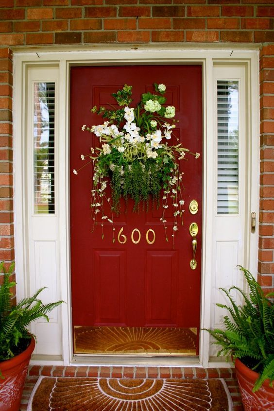 Gorgeous Red Door With Spring Wreath Alternative What A Stunner