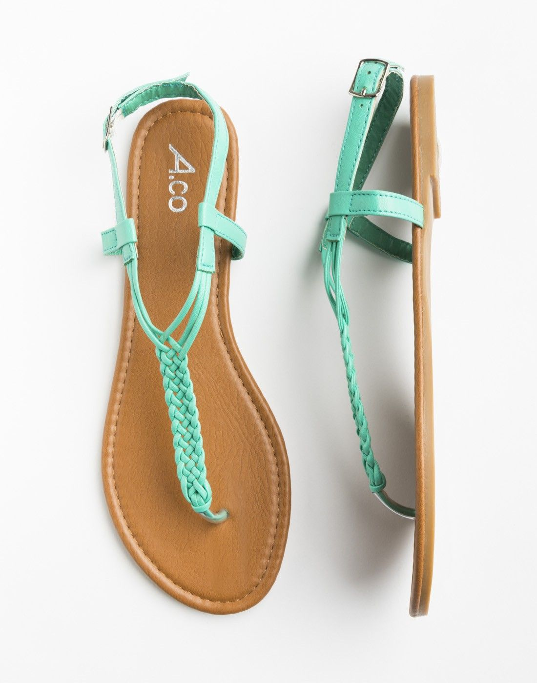 fd9d3921b9f9 turquoise braided sandals - Footwear