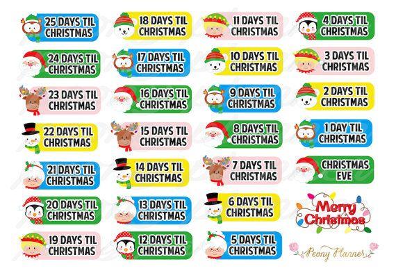 Christmas Countdown Planner Stickers for Erin Condren, Happy Planner, Filofax, Kikki K etc   Erin Condren Planner Stickers
