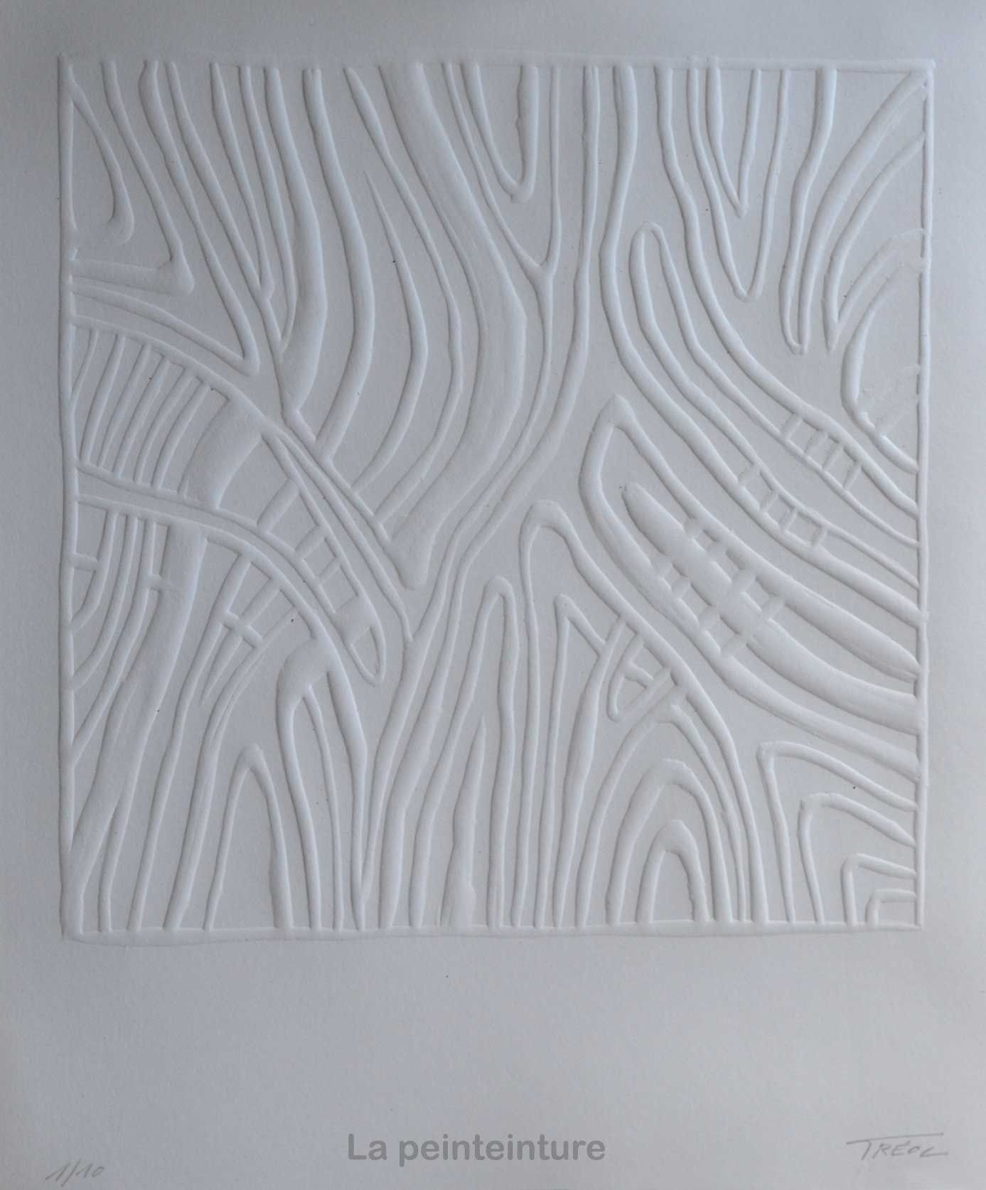 Papier Gaufré À Peindre Œuvre monochrome en papier gaufré. : sculptures, gravures