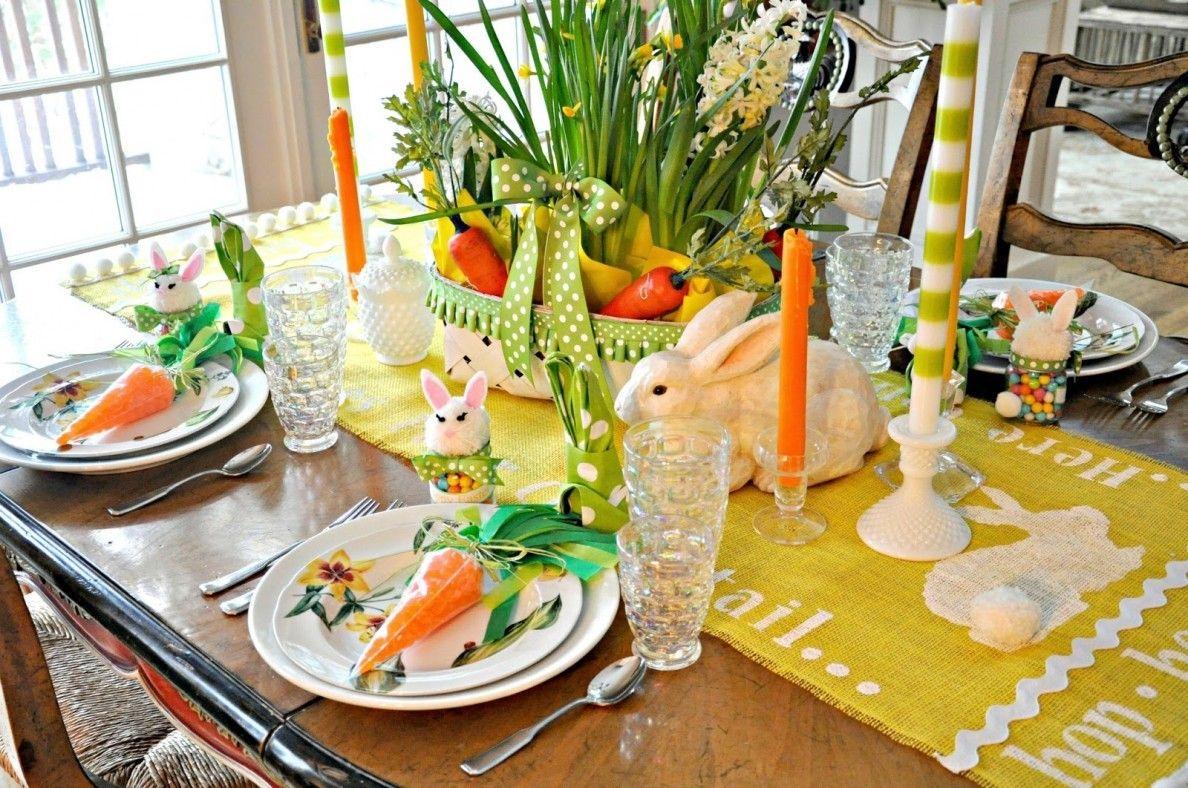 Tavola Pasqua primaverile - con sopresa nel piato ...
