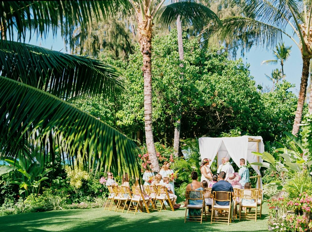 An intimate ceremony among all the tropical beauty. So lucky to be a part of these moments. . . . Featuring our Bamboo Folding Chairs  #oahu #hawaii #wedding #styled #ceremony #hawaiilife #weddings #weddinggoals #oahulife #ceremonydecor #ceremonyflowers #luckyweliveinhawaii #weddinglook #outdoorceremony #oahuevents #bridal #dreamwedding #love #design #aloha #weddingmoments #hawaiian #weddingceremonydecor #weddinggoals #luxurywedding #weddingbells #hawaiilove #styledetails