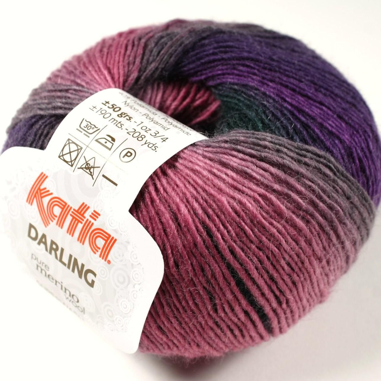 "Katia Darling yarn. Merino, nylon. ""Katia Darling knitting yarn is a beautiful nylon and merino wool blend brightly coloured striped ball of soft and squishy lovelyness! Perfect for socks for all the family, and lovely toys for girls and boys. With it's wonderfully soft blend you can easily crochet or knit up scarves and hats in big bright vivid colours."""