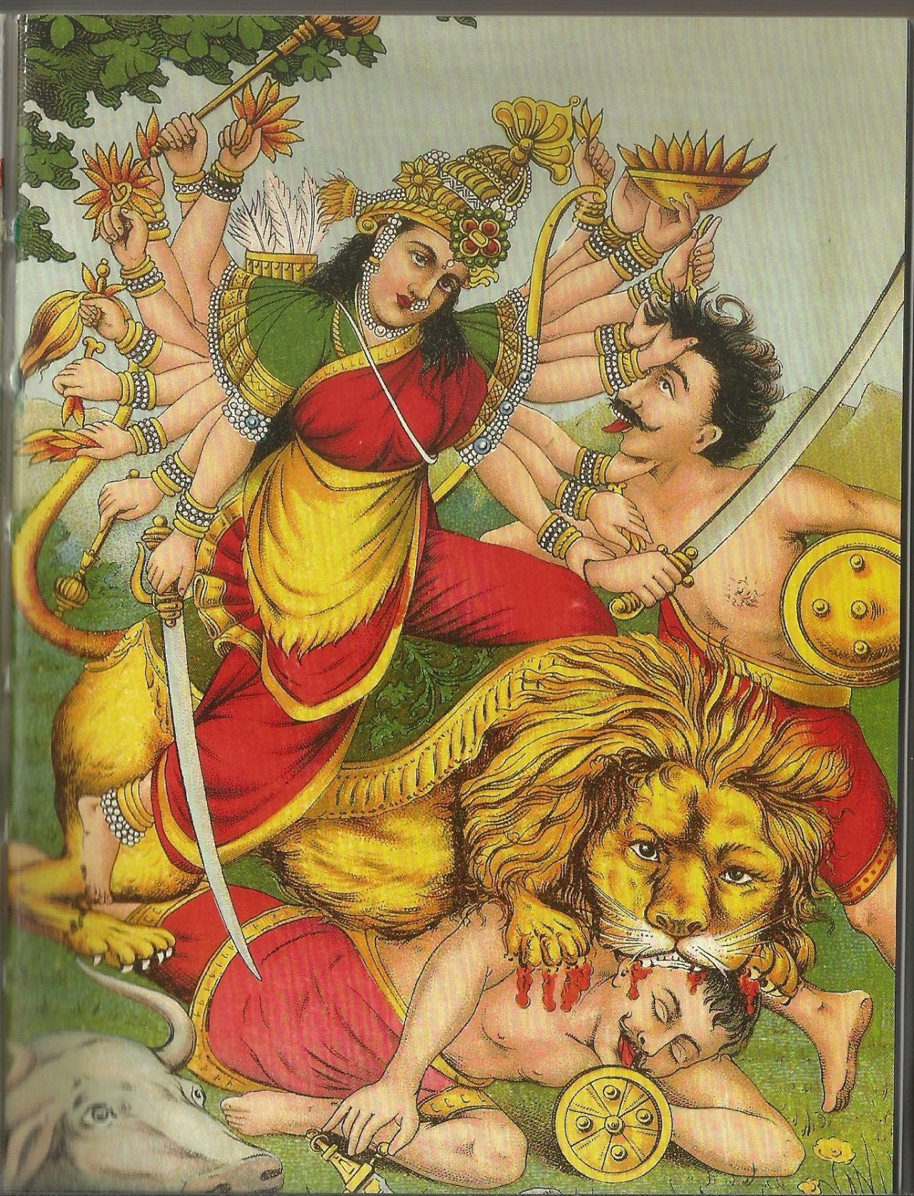 Devi Durga Mahisasuramardini Goddess Slayer Of The Buffalo Demon Popular Calendar Art Raja