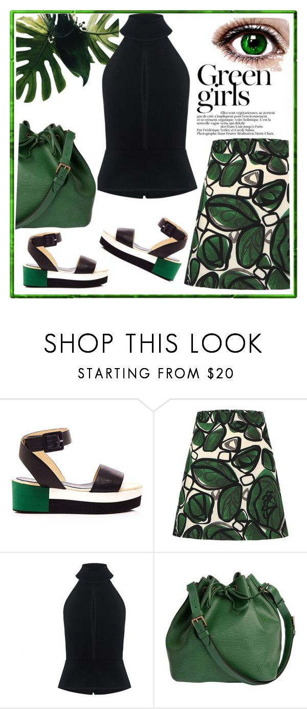 """Untitled #3600"" by julinka111 ❤ liked on Polyvore featuring Green Girls, Palomitas by Paloma Barceló, C/MEO COLLECTIVE and Louis Vuitton"