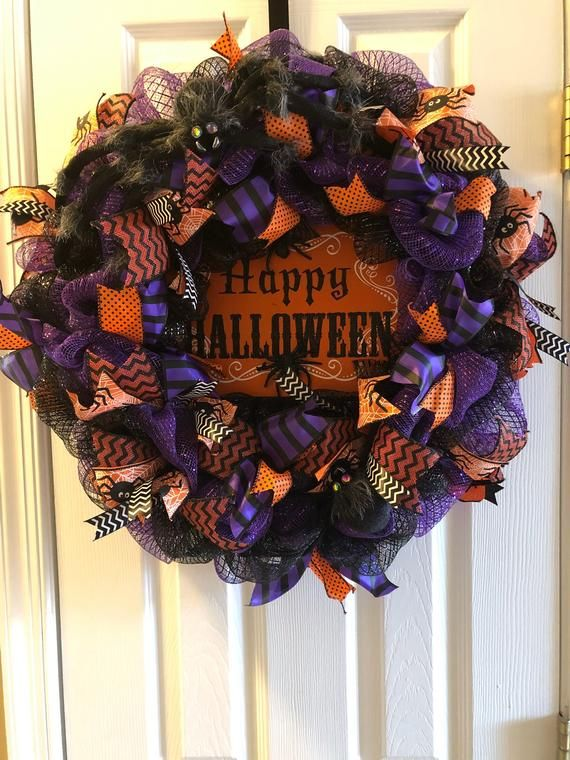 Halloween Wreath, Spider Wreath, Halloween Deco Mesh Wreath, Deco Mesh Wreath, Mesh Wreath, Happy Halloween Wreath #decomeshwreaths