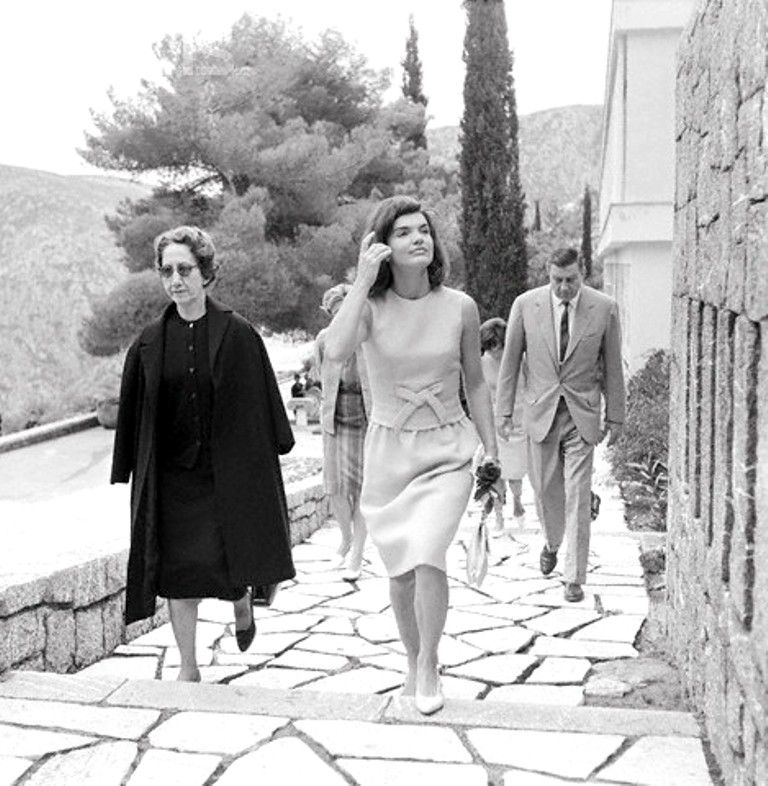 Jacqueline Kennedy vacationing in Greece at the invitation of Aristotle Onassis on October 12, 1963. She was recuperating from the loss of her newborn son, Patrick, who lived only 2 days after his birth in August 1963.