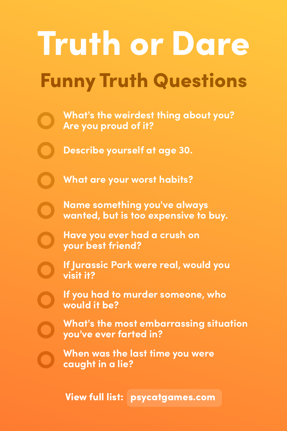 Funny Truth or Dare Questions (Truths)