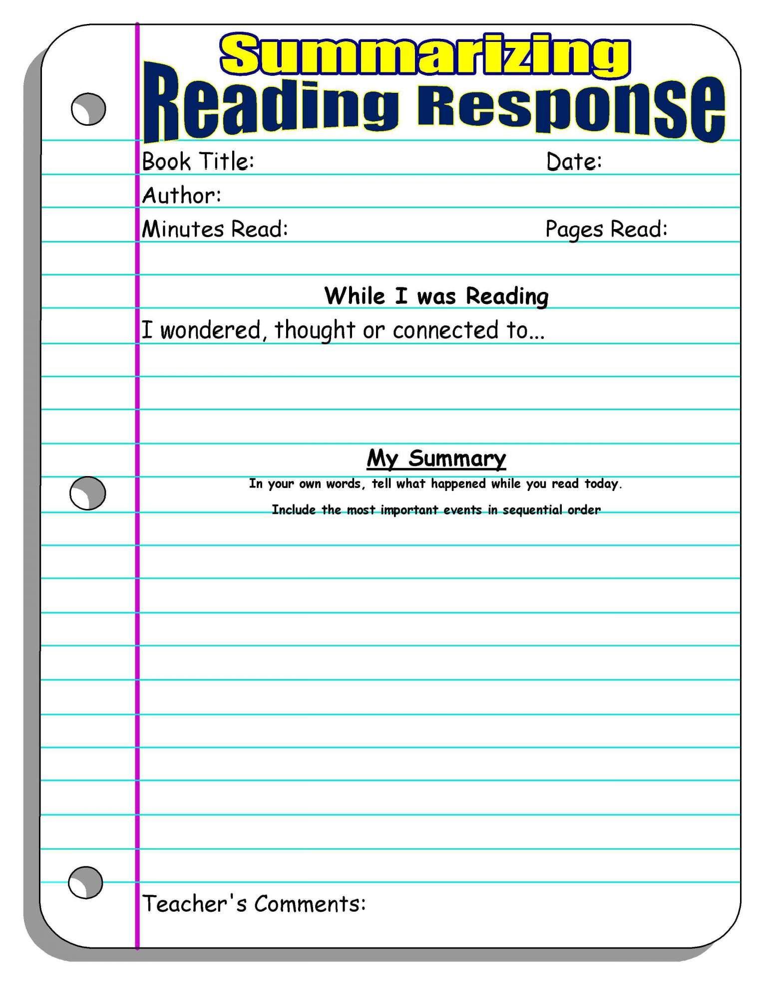 12 Reading Response Worksheet Junior High