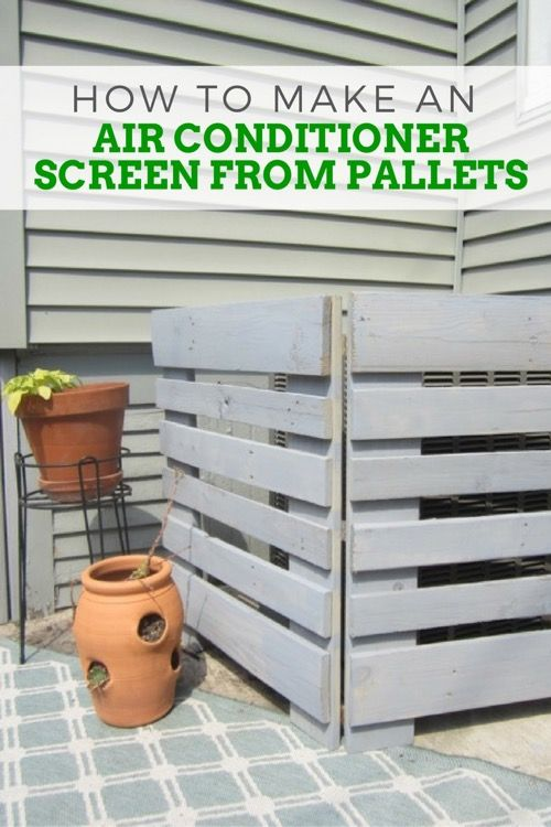 How To Make An Air Conditioner Screen From Pallets Diy Air Conditioner Air Conditioner Screen Air Conditioner Cover