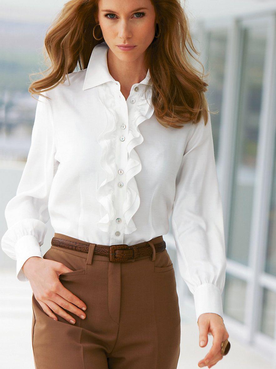 6238271c0abbf19 Пин от пользователя Татьяна на доске Блузки   Blouse dress, White ruffle  blouse и Ruffle blouse