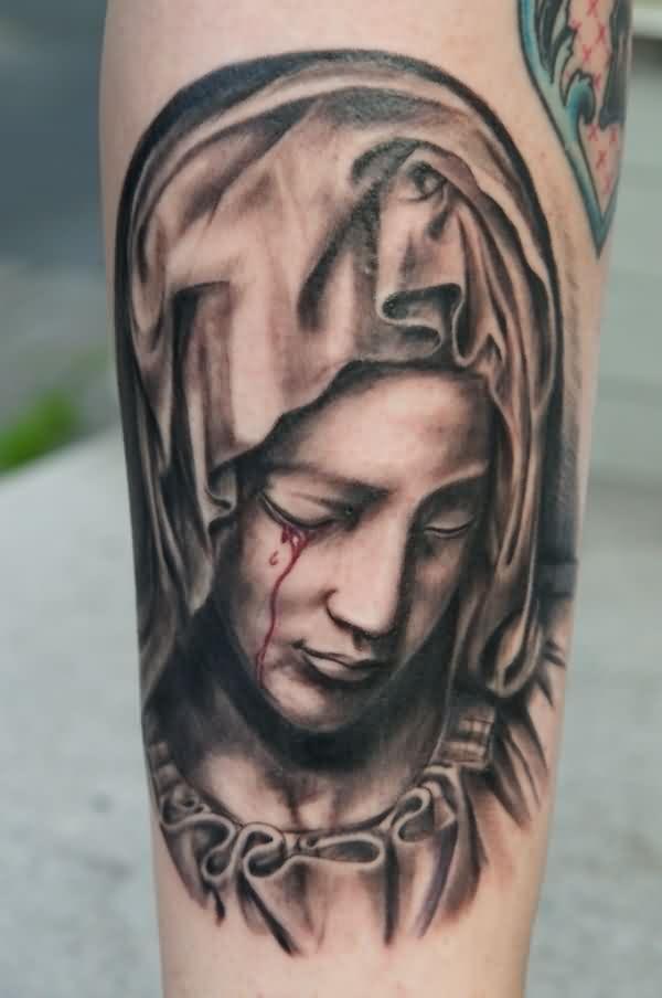961f65e62 Crying Virgin Mary Tattoo | tattoo | Mary tattoo, Christian tattoos ...
