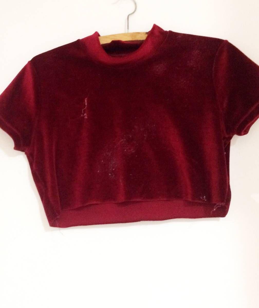 8f00de6d9b1f2 cropped veludo - blusas sem marca