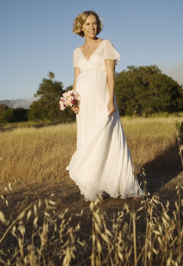 Simple Wedding Down With Short Loose Sleeves Lovely
