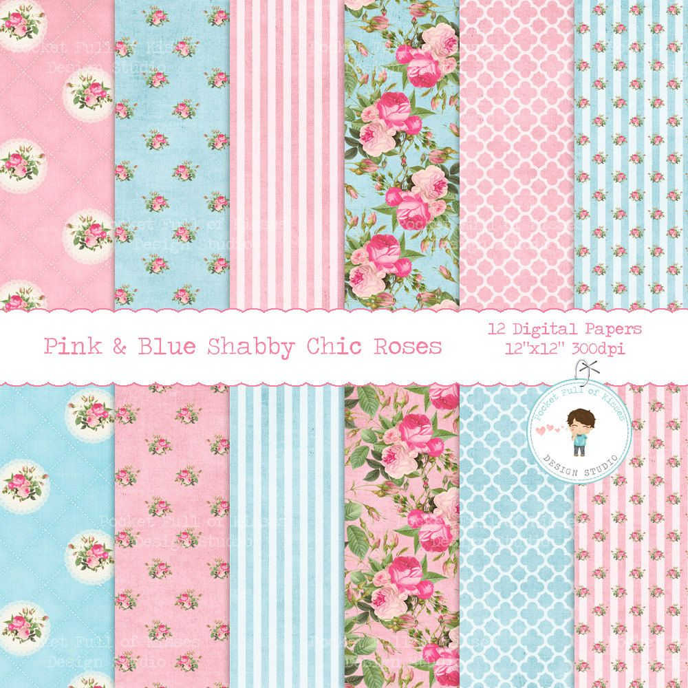 Pink Blue Shabby Chic Roses Digital Paper Floral Scrapbook Polka Dot Stripe Wedding Background