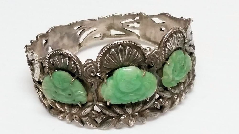 Really Fine Early 20th C Chinese Export Silver And Jade