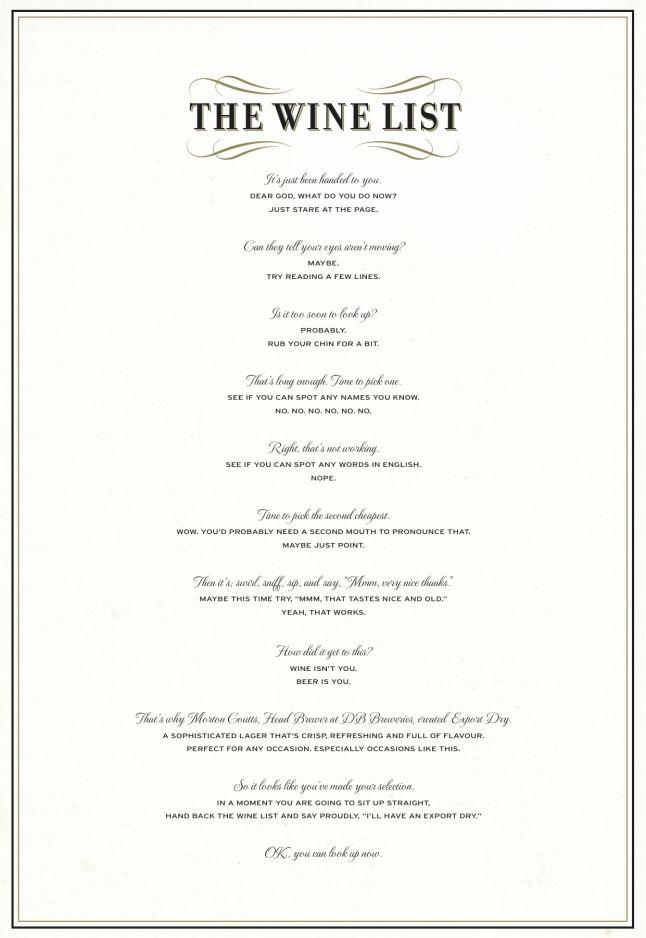Caples Awards Wine List Print Ads Wine List Menu