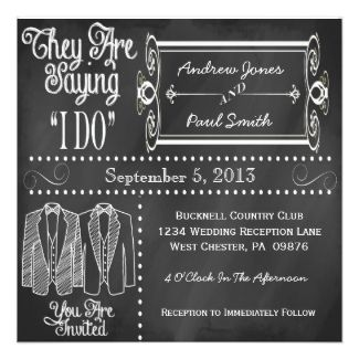 chalkboard tuxedo gay wedding invitations - Sams Club Wedding Invitations