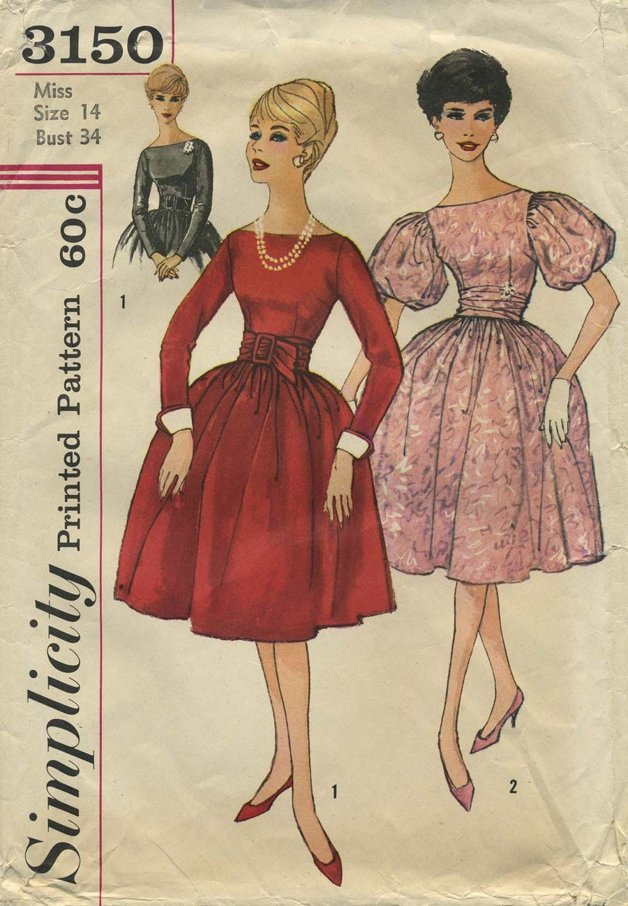 Vintage Sewing Pattern | Dress | Simplicity 3150 | Year 1959 ...