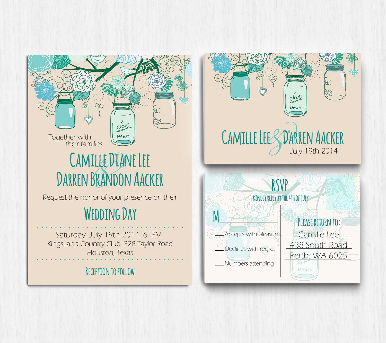 Mason Jar Wedding Invitation Printable Teal mint by PrintableMoon ...