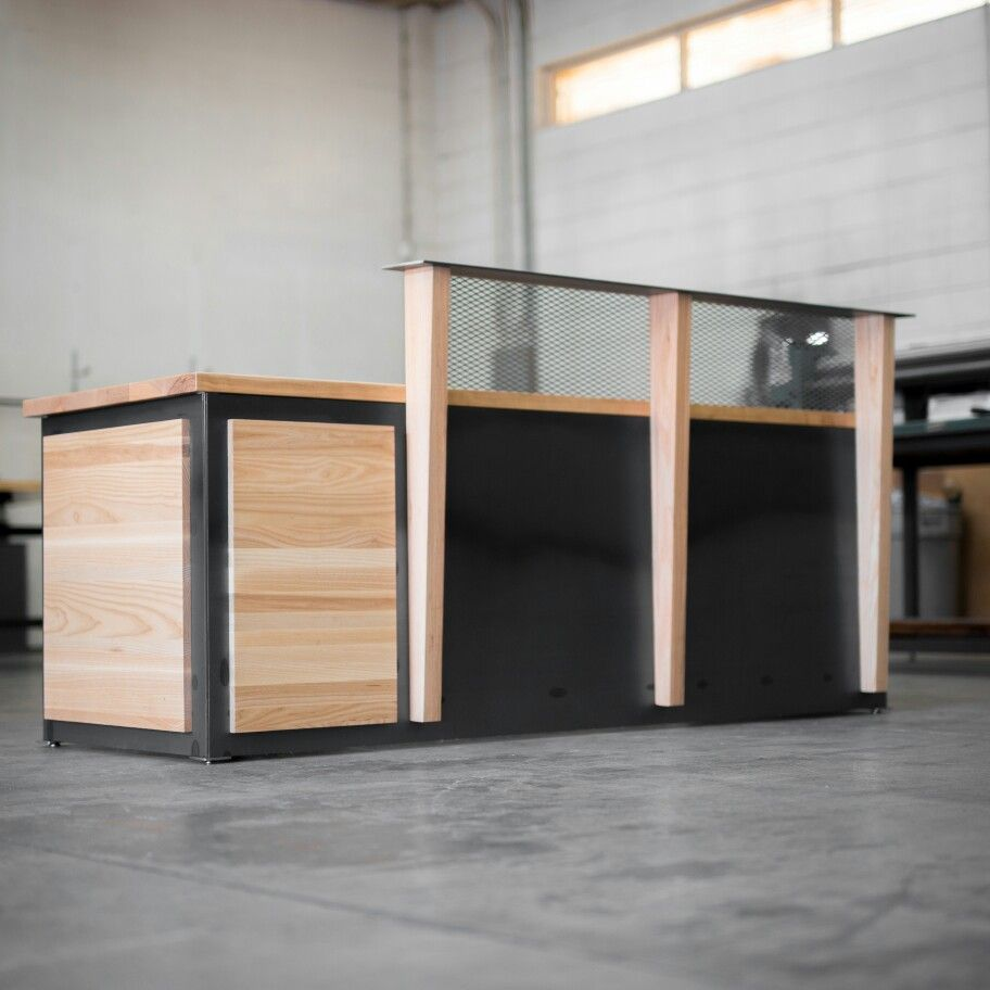 Ash wood and hot roll steel reception desk Real Industrial Edge