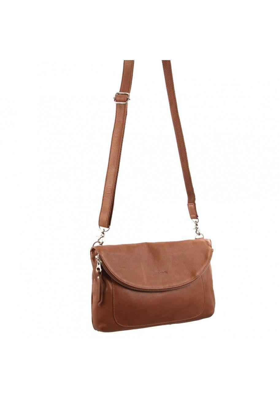 Pierre Cardin Genuine Soft Italian Leather Flapover Shoulder Cross Body Bag Tan