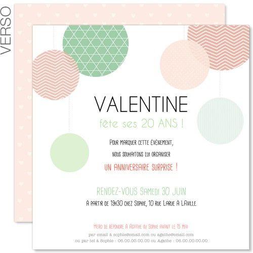 Assez Carte d'invitation #anniversaire pour femme, jeune filledès  YG76