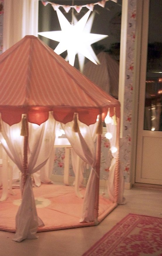 Girl's Sleepover Birthday Party Tent done with lights, tulle