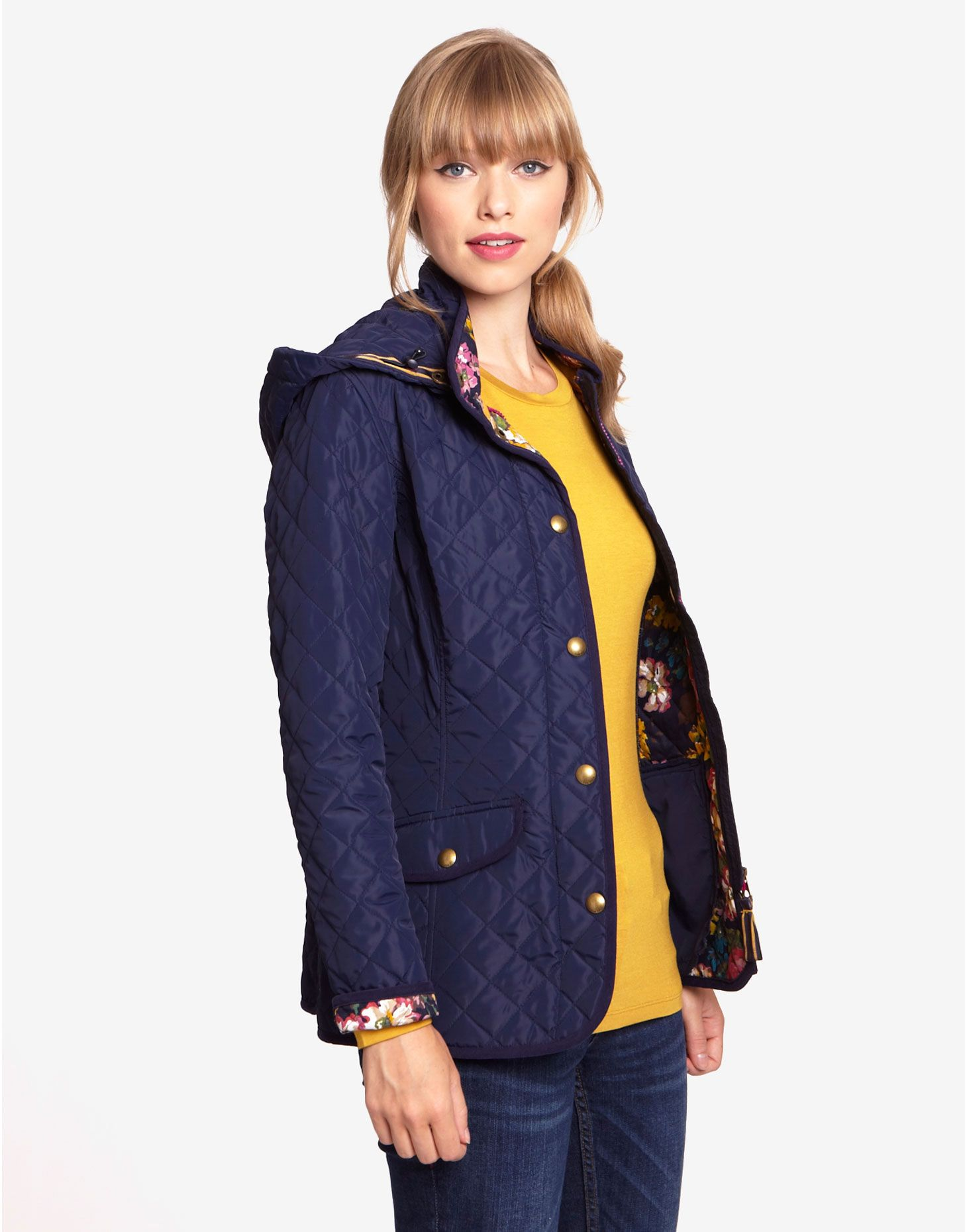 MARCOTTE Womens Quilted Jacket with Floral Lining and detachable ...