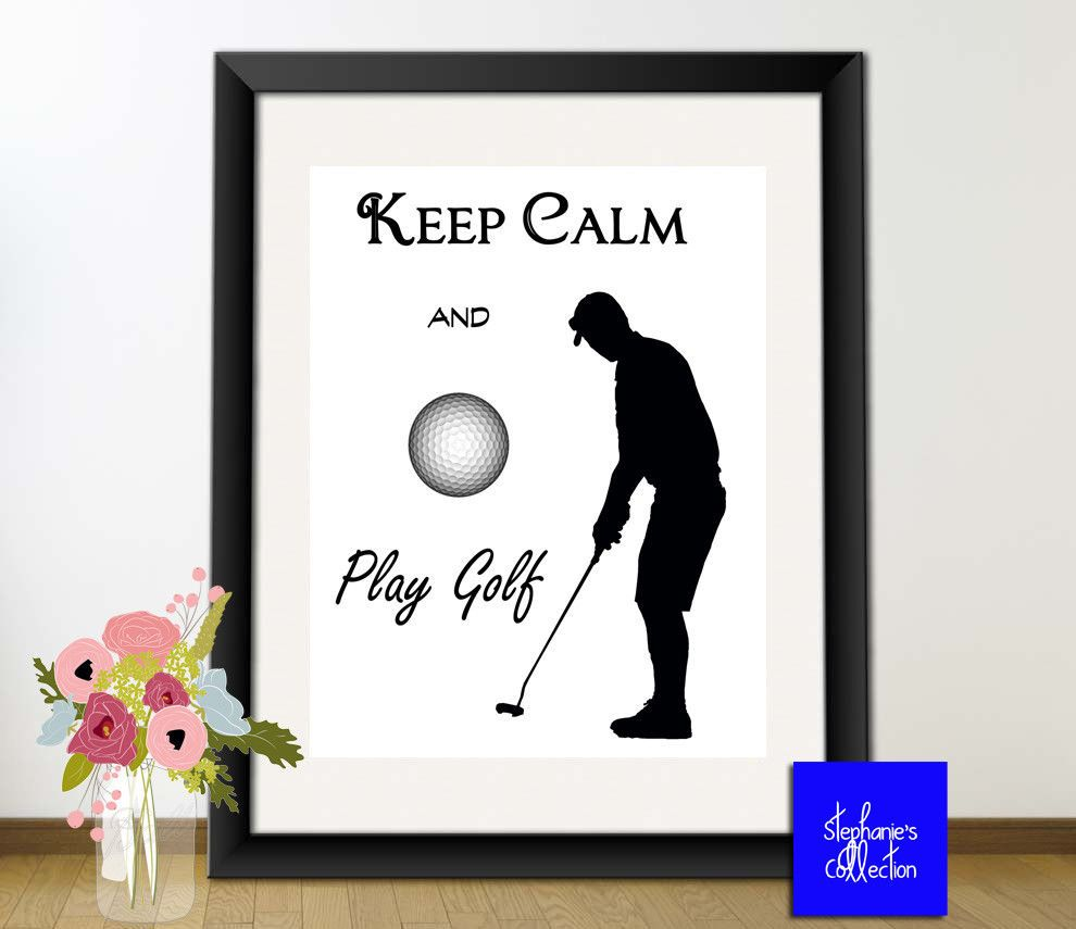 Golf Poster - Keep Calm and Play Golf 8x10 Print