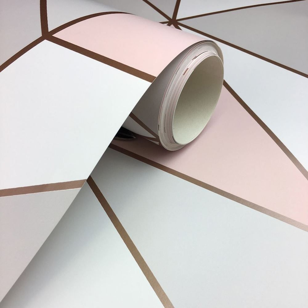 Apex Geometric Wallpaper Rose Gold Pink Fine Decor Fd41993